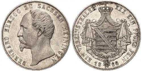1 Thaler 萨克森-迈宁根 (1680 - 1918) 銀 Bernhard II, Duke of Saxe-Meiningen