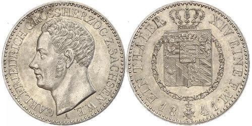 1 Thaler 萨克森-魏玛-艾森纳赫 (1809 - 1918) 銀 卡尔·腓特烈 (萨克森-魏玛-艾森纳赫大公)