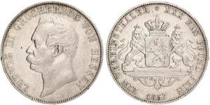 1 Thaler 黑森-达姆施塔特 (1806 - 1918) 銀 路德维希三世 (黑森大公)