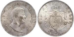 1 Thaler 黑森-达姆施塔特 (1806 - 1918) 銀 路德维希一世 (黑森大公)