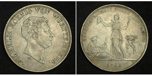 1 Thaler Kingdom of Württemberg (1806-1918) 銀 威廉一世 (符腾堡)