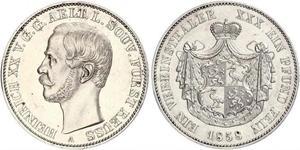 1 Thaler Principauté Reuss branche aînée (1778 - 1918) Argent Henri XX de Reuss-Greiz