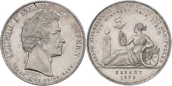1 Thaler Royaume de Bavière (1806 - 1918) Argent Louis Ier de Bavière(1786 – 1868)