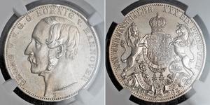 1 Thaler Royaume de Hanovre (1814 - 1866) Argent Georges V de Hanovre (1819 - 1878)