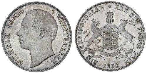 1 Thaler Royaume de Wurtemberg (1806-1918) Argent Guillaume Ier de Wurtemberg