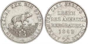 1 Thaler Anhalt-Bernburg (1603 - 1863) Argento Alessandro Carlo di Anhalt-Bernburg(1805 – 1863)