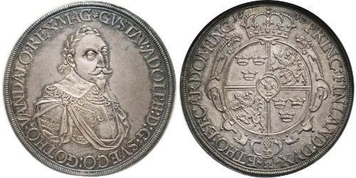 1 Thaler Augusta (Germania) (1276 - 1803) Argento Gustavo II Adolfo di Svezia(1594 – 1632)