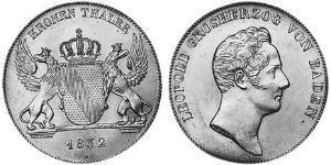 1 Thaler Grand Duchy of Baden (1806-1918) Argento
