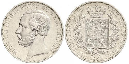 1 Thaler Grand Duchy of Oldenburg (1814 - 1918) Argento Pietro II di Oldenburg (1827 - 1900)