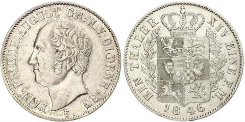 1 Thaler Grand Duchy of Oldenburg (1814 - 1918) Argento Augusto I di Oldenburg