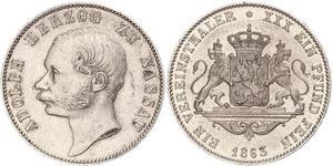 1 Thaler Nassau (stato) (1806 - 1866) Argento Adolfo di Lussemburgo