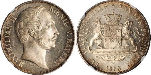 1 Thaler Regno di Baviera (1806 - 1918) Argento Massimiliano II di Baviera(1811 - 1864)