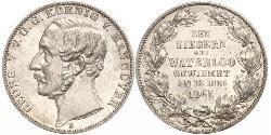 1 Thaler Regno di Hannover (1814 - 1866) Argento Giorgio V di Hannover (1819 - 1878)