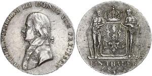 1 Thaler Regno di Prussia (1701-1918) Argento Federico Guglielmo III di Prussia  (1770 -1840)