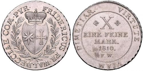 1 Thaler Waldeck e Pyrmont (1180 - 1918) Argento
