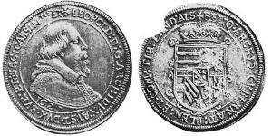 1 Thaler Alsacia Plata Leopoldo V de Habsburgo (1586 – 1632)
