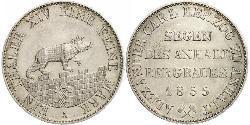 1 Thaler Anhalt-Bernburg (1603 - 1863) Plata Alexander Karl, Duke of Anhalt-Bernburg (1805 – 1863)