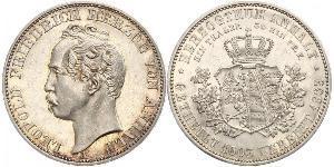 1 Thaler Anhalt-Dessau (1603 -1863) / Anhalt (1806 - 1918) Plata Leopoldo IV de Anhalt (1794 – 1871)