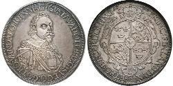 1 Thaler Augsburgo (1276 - 1803) Plata Gustavo II Adolfo de Suecia(1594 – 1632)