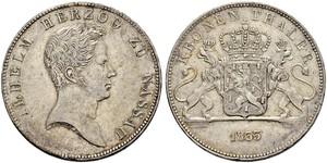 1 Thaler Ducado de Nassau (1806 - 1866) Plata Guillermo I de Nassau