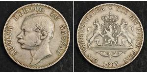 1 Thaler Ducado de Nassau (1806 - 1866) Plata Adolfo de Luxemburgo