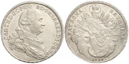 1 Thaler Electorate of Bavaria (1623 - 1806) Plata Carlos Teodoro del Palatinado y Baviera (1724 - 1799)