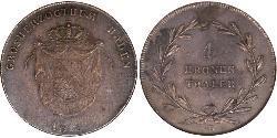 1 Thaler Gran Ducado de Baden (1806-1918) Plata Carlos II de Baden(1786 – 1818)