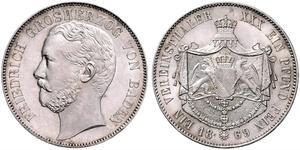 1 Thaler Gran Ducado de Baden (1806-1918) Plata Federico I de Baden (1826 - 1907)