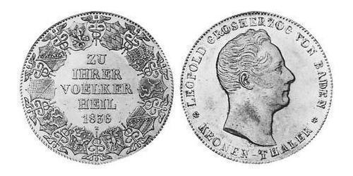 1 Thaler Gran Ducado de Baden (1806-1918) Plata Leopoldo I de Baden(1790 – 1852)