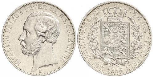 1 Thaler Grand Duchy of Oldenburg (1814 - 1918) Plata Pedro II de Oldenburgo (1827 - 1900)