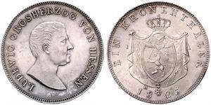 1 Thaler Hesse-Darmstadt (1806 - 1918) Plata Luis I de Hesse-Darmstadt