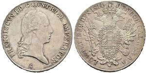 1 Thaler Imperio austríaco (1804-1867) Plata Francis II, Holy Roman Emperor (1768 - 1835)