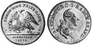 1 Thaler Principado de Ansbach (1398–1792) Plata Charles Alexander, Margrave of Brandenburg-Ansbach (1736 – 1806)