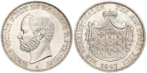 1 Thaler Principado de Waldeck (1180 - 1918) Plata Jorge Víctor de Waldeck-Pyrmont (1831 - 1893)