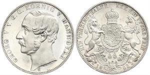 1 Thaler Reino de Hannover (1814 - 1866) Plata Jorge V de Hannover (1819 - 1878)