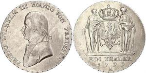 1 Thaler Reino de Prusia (1701-1918) Plata Federico Guillermo III de Prusia (1770 -1840)
