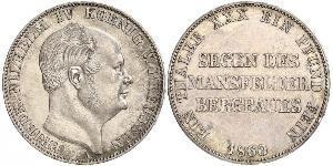 1 Thaler Reino de Prusia (1701-1918) Plata Federico Guillermo IV de Prusia (1795 - 1861)