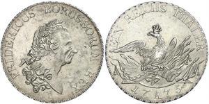 1 Thaler Reino de Prusia (1701-1918) Plata Federico II el Grande (1712 – 1786)