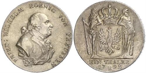 1 Thaler Reino de Prusia (1701-1918) Plata Federico Guillermo II de Prusia