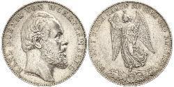 1 Thaler Reino de Wurtemberg (1806-1918) Plata Carlos I de Wurtemberg