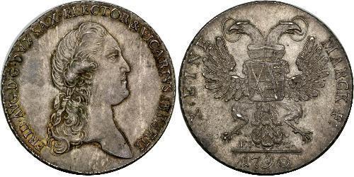 1 Thaler States of Germany Plata Federico Augusto III de Sajonia (1865-1932)