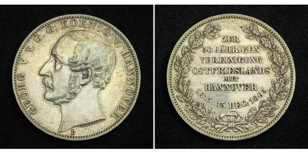 1 Thaler Königreich Hannover (1814 - 1866) Silber Georg V. (Hannover) (1819 - 1878)