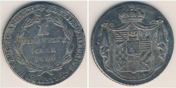 1 Thaler Anhalt-Bernburg (1603 - 1863) Silver Alexius Frederick Christian, Duke of Anhalt-Bernburg (1767 – 1834)