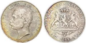 1 Thaler Duchy of Nassau (1806 - 1866) Silver Adolphe, Grand Duke of Luxembourg