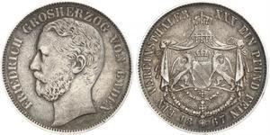 1 Thaler Grand Duchy of Baden (1806-1918) Silver Frederick I, Grand Duke of Baden (1826 - 1907)
