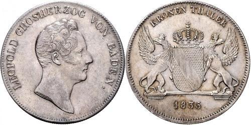 1 Thaler Grand Duchy of Baden (1806-1918) Silver Leopold, Grand Duke of Baden (1790 – 1852)
