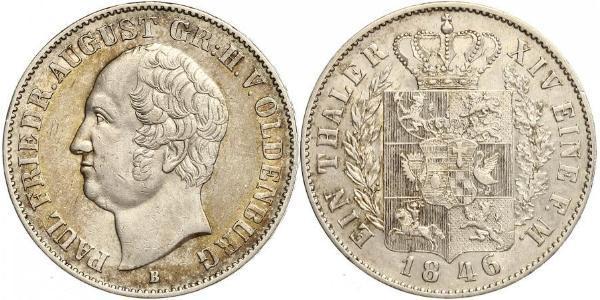 1 Thaler Grand Duchy of Oldenburg (1814 - 1918) Silver Augustus, Grand Duke of Oldenburg
