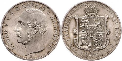 1 Thaler Kingdom of Hanover (1814 - 1866) Silver George V of Hanover (1819 - 1878)