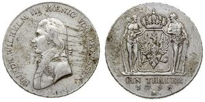 1 Thaler Kingdom of Prussia (1701-1918) Silver Frederick William III of Prussia (1770 -1840)
