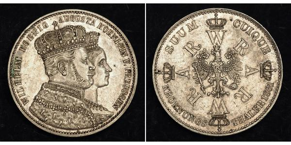 1 Thaler Kingdom of Prussia (1701-1918) Silver Wilhelm I, German Emperor (1797-1888)